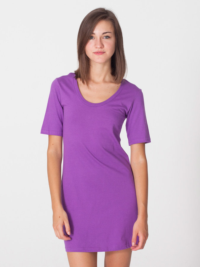 American Apparel Organic Fine Jersey Short Sleeve Crew Neck T-Shirt Dress