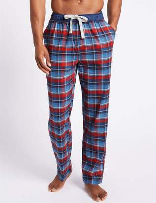 Marks and Spencer Brushed Cotton Checked Long Pyjama Bottoms