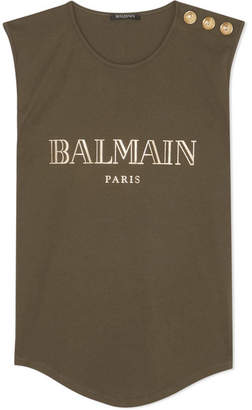 Balmain Button-embellished Printed Cotton-jersey Tank - Army green