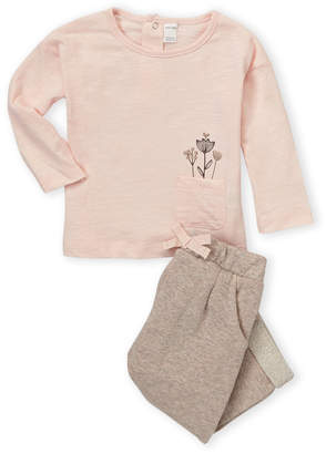Petit Lem Newborn Girls) Two-Piece Long Sleeve Flower Pocket Top & Pants Set