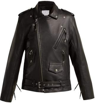 Toga Lace Up Leather Biker Jacket - Womens - Black