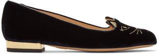 Charlotte Olympia Navy Velvet Kitty Flats