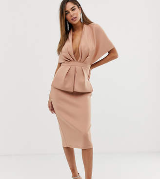 Asos Design DESIGN structured plunge kimono midi dress with peplum