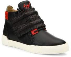 Giuseppe Zanotti Crocodile Strapped High Top Leather Sneakers