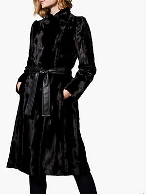 Karen Millen Textured Faux Ponytail Longline Coat, Black