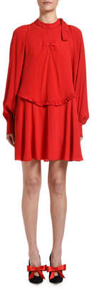No.21 No. 21 Mock-Neck Long-Sleeve Mini Keyhole Dress
