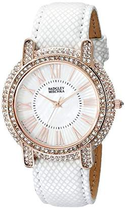 Badgley Mischka Women's BA/1354WMWT Swarovski Crystal Accented Rose Gold-Tone and White Leather Strap Watch