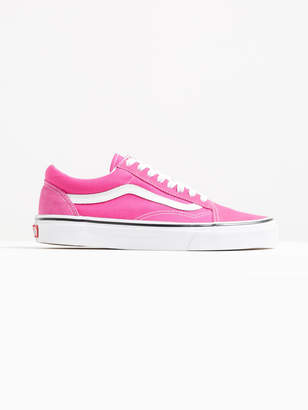 Vans Womens Old Skool Sneakers in Bright Pink Suede Canvas