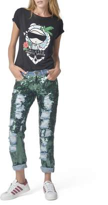 Mua Mua Dolls Green Sequined Jeans