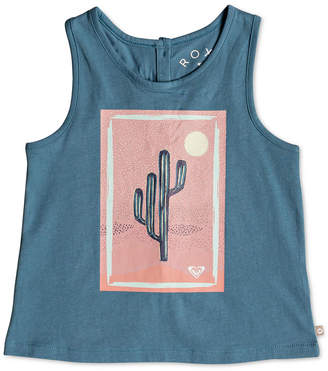 Roxy Button-Back Cotton Tank Top, Little Girls