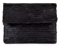 Matte-Sequined Foldover Clutch