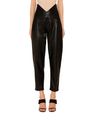 ATTICO The Leather Butterfly-Band Crop Pants
