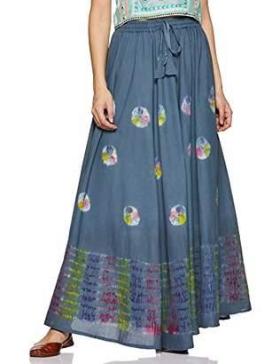 Habiller Women's Cotton Long Maxi Gypsy Skirt Blue Tie-Dye 25 Yards Skirt~SKT502-BLU ()