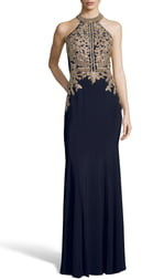 Xscape Evenings Lace Applique Open Back Evening Dress