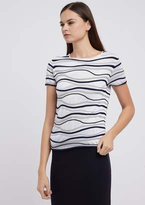 Emporio Armani Short-Sleeved Sweater In Wavy Fabric