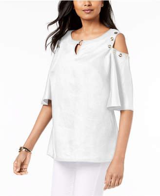 JM Collection Linen Cold-Shoulder Grommet Top, Created for Macy's