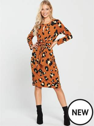 Wallis Animal Tie Front Midi Dress - Toffee
