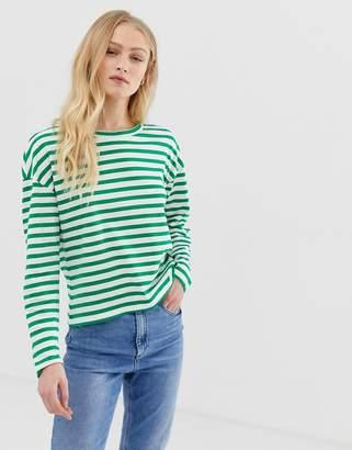 Only 100% organic cotton drop shoulder stripe long sleeve top