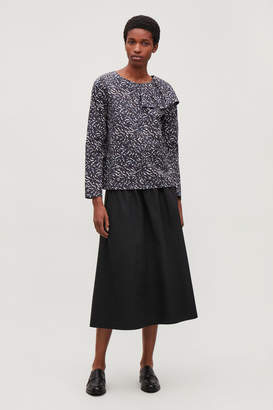 Cos PRINTED BLOUSE WITH DRAPE DETAIL