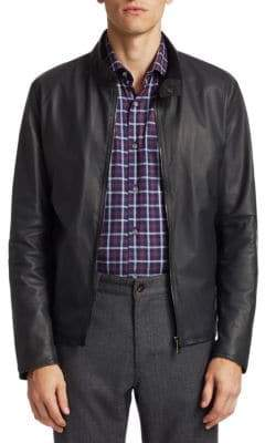 Saks Fifth Avenue Men's COLLECTION Leather Jacket - Grey - Size XXXL