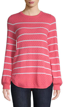 ST. JOHN'S BAY Womens Scoop Neck Long Sleeve Stripe Pullover Sweater