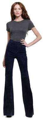 Alice + Olivia Navy Suede Bell Pant