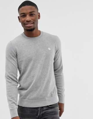 Abercrombie & Fitch Core Icon Moose Logo Crewneck Sweatshirt in Light Gray Marl