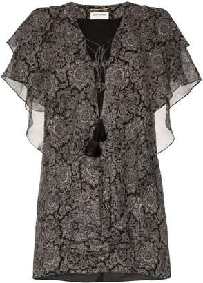 Saint Laurent paisley print ruffle silk mini dress