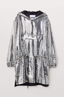 H&M Sequined Hooded Dress - Gray