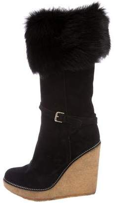 Jean-Michel Cazabat Suede Wedge Shearling Booties