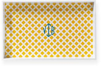 Mark And Graham Printed Lacquer Tray, Lattice