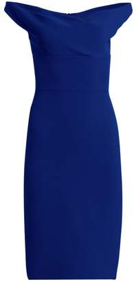 Gustavo Cadile Portrait Neckline Sheath Dress