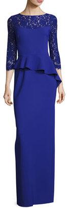 Rickie Freeman for Teri Jon 3/4-Sleeve Lace-Trim Stretch Jersey Peplum Gown, Cobalt $580 thestylecure.com
