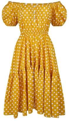 Caroline Constas Bardot Polka Dot Dress