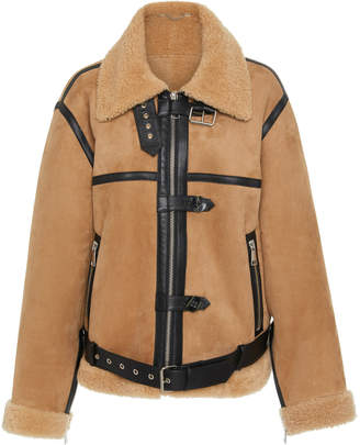 Victoria Beckham Victoria Leather-Trimmed Shearling Coat