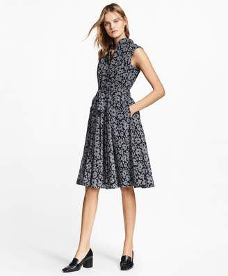 Brooks Brothers Floral-Print Glen Plaid Dress