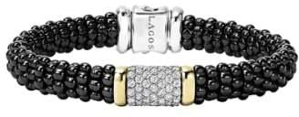 Lagos Black Caviar Diamond Pave Rope Bracelet