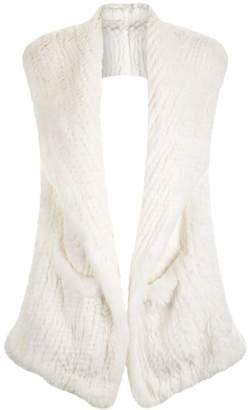 Yves Salomon Hooded Rabbit Fur Scarf