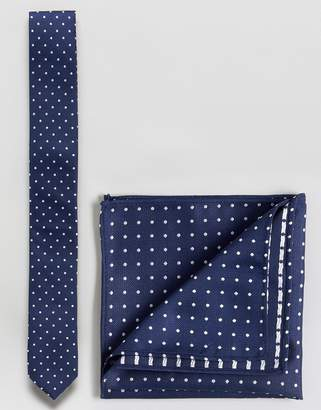 Asos DESIGN polka dot tie and pocket square set
