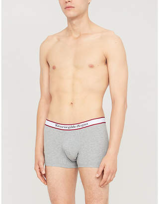 Logo-embroidered slim-fit stretch-cotton trunks