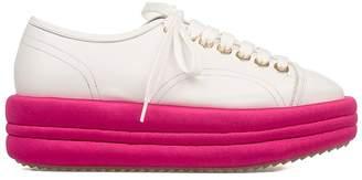 White/fuchsia Leather Wedge Sneakers