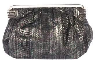 Judith Leiber Metallic Snakeskin Frame Clutch