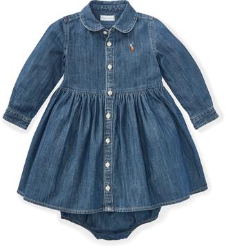 Ralph Lauren Shirred Denim Shirtdress
