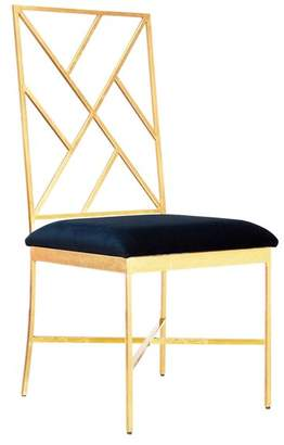 Worlds Away Fretwork Back Gold Leaf Chair With Navy Velvet Cushion
