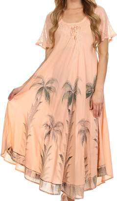 Sakkas 14610New - Kai Palm Tree Caftan Tank Dress / Cover Up