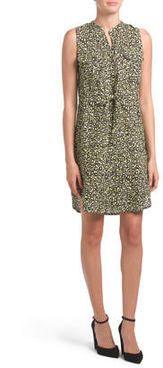Made In Italy Animal Print Linen Tie Front Dress