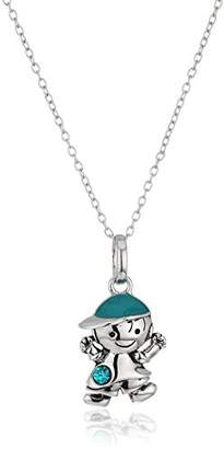 Hallmark Jewelry Birthstone Sterling Silver Crystal Boy Pendant Necklace