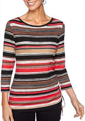 Ruby Rd. Women's Ballet-nk Autumn Stripes Print Knit top