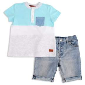7 For All Mankind Boys' Color-Block Henley & Cuffed Shorts Set - Little Kid
