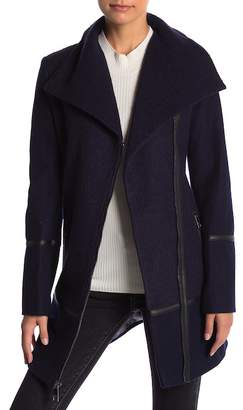 GUESS Wool Blend Asymmetrical Zip Coat